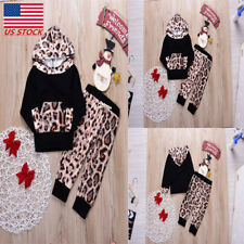2PCS Infant Baby Kids Boy Girls Warm Leopard Hoodie + Long Pant Party Outfit Set