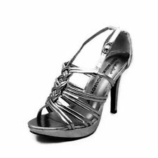 Pewter high heel strappy knot front sandals
