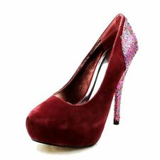 Cherry Suedette high heel court shoes with glitter heel