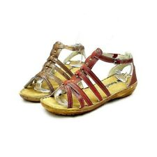 Ladies strappy very low heel studded front sandals