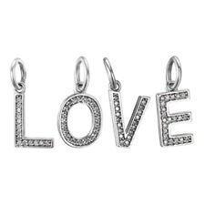 Letter Charm 925 Solid Sterling Silver Pave Alphabet Pendant Bead for Bracelet
