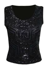 UK Womens Ladies Sequin Crop Top Vintage Tee Shirt Sleeveless Party