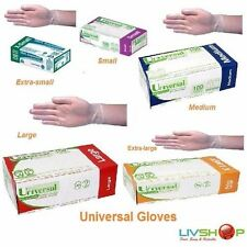2 Boxes of Universal Clear Examination Vinyl Gloves Low Powder S,M,L,XL