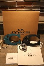 """NEW STUNNING """"C"""" COACH BLACK / TEAL KEY CHAIN FOB PURSE CHARM ~ WITH EXTRAS  $70"""