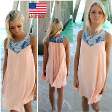 Womens Floral Boho Beach Mini Dress Casual Holiday Sleeveless Outdoor Sundress