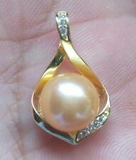 CHARMING AAA 10-11MM SOUTH SEA GOLD  PEARL PENDANT NECKLACE