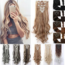 Long NEW Clip in on 8 PCS 18 Hair Extensions 18 Clips Extension Full Head Thick