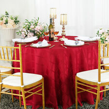 "Wedding Linens Inc. 90"" Round Plaid Checkered Polyester Tablecloths Table Covers"