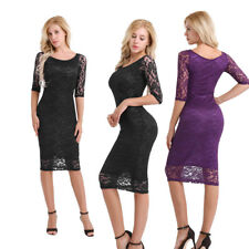 Womens Celeb Bodycon Lace Midi Dresses 3/4Sleeve OL Party Pencil Dress Evening