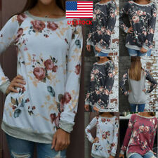 Womens Floral Long Sleeve Blouse Crew Neck Loose Cotton Party Cocktail Top Shirt