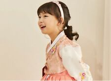Hanbok Korean Traditional Dress birthday Party Girl Embroidery Flower Pink Skirt