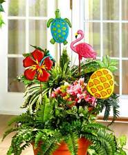 Set 4 Themed Garden Stakes Colorful Flowers, Metal Tropical Fun, In the Garden