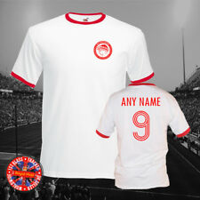 Olympiakos Football Ringer T-shirt, Personalise, Gift, Retro, Greece, Mens