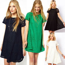 Plus Size Summer Women Short Sleeve Lace Floral Party Cocktail Casual Mini Dress