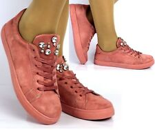 Womens Ladies Pink Embellished Faux Suede Flat Trainers Lace Up Comfy Sneakers