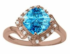 2.30 Ct. Ttw Diamond And Cushion Cut Blue Topaz Ring In 14K Gold