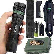 Tactical 50000LM XM-L T6 LED Flashlight Zoomable Torch Lamp+18650+Charger+Case