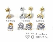 925 Sterling Silver Solitaire Round CZ Screw Back Stud Earrings, Daily Earrings