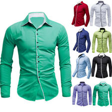 New Mens Luxury Casual Shirt Dress Shirt Slim Fit Long Sleeve Business Shirt Top