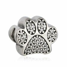 Solid sterling silver Pave Paw Prints Beads Clear CZ Animal Footprints Charm