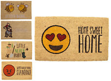 Stylish Fun Beige Heavy Duty Coir DoorMat w/ Non-Slip Rubber Backing 45x75CM