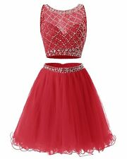 Women's Short Tulle Prom Dress Beaded Two Piece Cocktail Party Wedding Dress