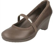 LADIES CROCS CASEY WOMEN PLAIN DARK BROWN MID WEDGE HEELS COURT SHOES US SIZE W9