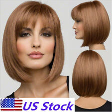 US Women Short Straight Fake Hair Wig Synthetic Bob Full Wig Anime Party Cosplay