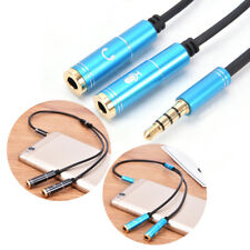 3.5mm jack stereo headphone+mic audio splitter aux extension adapter cable  O