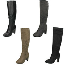 LADIES WOMENS SPOT ON ZIP UP KNEE HIGH MID HEEL BLACK GREY TAUPE BOOTS F50554