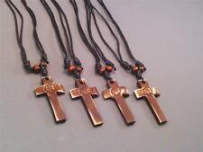 Christian Pendant Necklace Cross Peace Symbol Leather Cord LOW STOCK! Nice Gift!