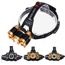 Zoomable CREE 5X LED 80000 Lumens USB Headlamp 4 Modes 2X18650 Battery Lamp 0〃