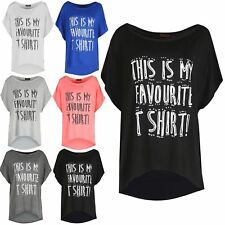 Womens THIS IS MY FAVOURITE T SHIRT Print Ladies Batwing Cap Sleeves Top