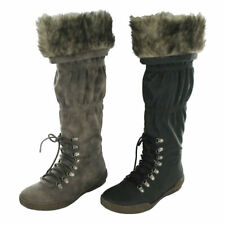 COCO LADIES L9R318 TAUPE FLAT ZIP UP KNEE LENGTH WINTER BOOTS