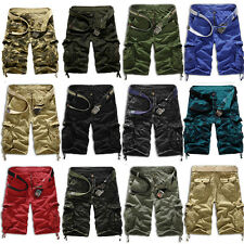 Mens Leisure Army Combat Camo Work Hiking Cargo Shorts Pants Trousers Cotton