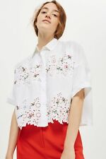 Topshop Beautiful Floral Embroidered Cutwork Lace Cotton Shirt Blouse UK 10 / 38