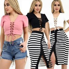 Womens Ladies Short Sleeve V Neck Plunge Lace Tie Up Eyelet Cropped Top Shirt