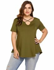 Zeagoo Womens  Tunic Tops Criss Cross V Neck Short Sleeve T Shirt Casual Tops