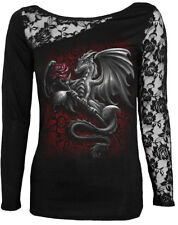 Spiral Dragon Rose, Lace One Shoulder Top Black|Dragon|Roses|Wings|Gothic