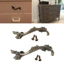 Striped Leaf Carved Kitchen Cabinet Drawer Pull Handle Door Knobs Bronze Tone