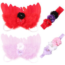 Newborn Baby Angel Feather Wings Flower Headband Photography Prop Outfit Welcome