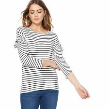The Collection Womens Ivory Striped Ruffle Sleeves Top From Debenhams Size