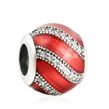 authentic 925 Sterling Silver Red Enamel & Clear CZ charm Beads genuine charms