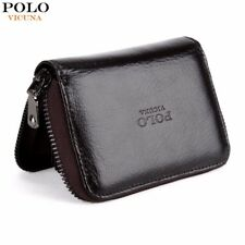 VICUNA POLO Shoulder Waxy Oil Genuine Leather Card Holder Zipper Open Cowhide