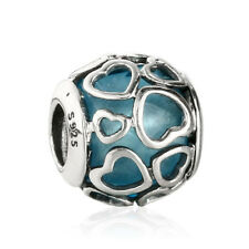 Original 925 Sterling Silver Charm Beads Blue Crystal in Love Hearts Bead