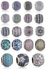 authentic 925 Sterling Silver Charms Beads Ball with Rhinestone Charm Bead
