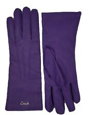 COACH Womens Leather Gloves Purple Cashmere Lined Logo Wrist Winter Glove F82835
