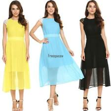 Women Casual Lace Sleeve Patchwork A-Line Pleated Hem Chiffon Maxi Dress FPAW