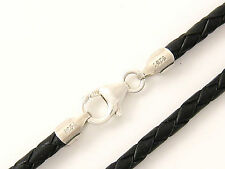 "3mm Black Briaded Bolo Leather Cord Necklace 925 sterling Silver Clasp 34"" NYC"