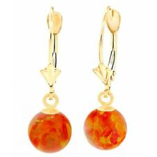 Mexican Fire Synthetic Australian Opal Ball Leverback Earrings 14K Gold, Orlena